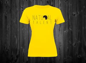 "Black Cotton ""Natural  Talent"" Women's (Sunshine Yellow) Tee"