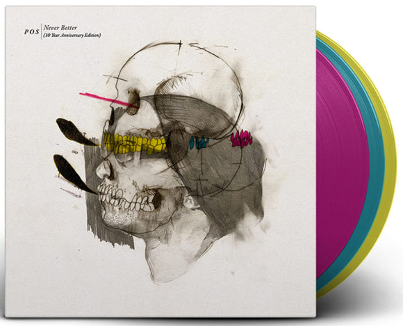 P.O.S Never Better 10th Anniversary 3 LP Cyan, Magenta And Yellow Colored screen-printed F-side Vinyl & Download PreOrder 2-1