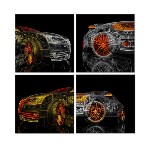 iHAPPYWALL 4 Piece Abstract Colorful Cars 3D Model Design On Black Background Picture Painting for Home Decoration