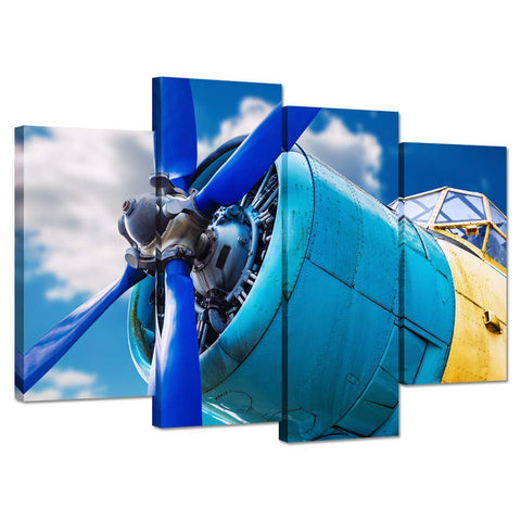 iHAPPYWALL 4 Piece Blue Propeller and Engine of Vintage Airplane Over Sky Picture Print On Canvas Painting for Wall Decor