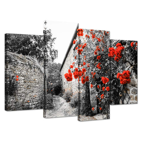 iHAPPYWALL Black and Red 4 Panel Red Roses Bushes Near Old Rural House Landscape Print On Canvas Artwork for Home Decor
