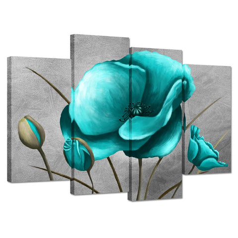 iHAPPYWALL 4 Panel Flower Wall Art Canvas Print Teal Blue Poppy Still Life Floral Painting on Grey Background Picture Poster for Modern Home Decoration Artwork