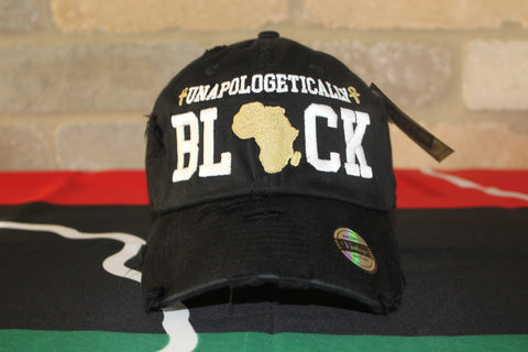 Black Distress Unapologetic Dad Cap