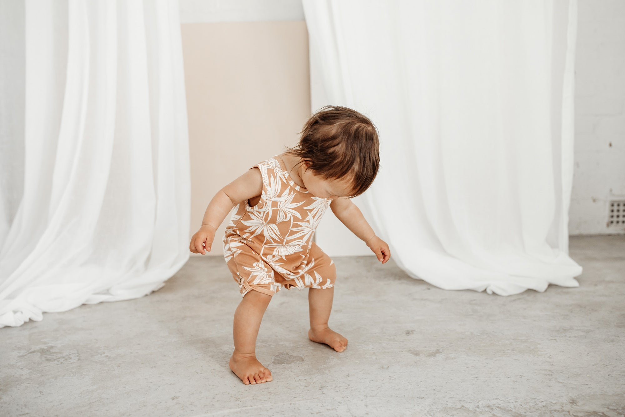 Bamboo Palms Playsuit in cinnamon colour way