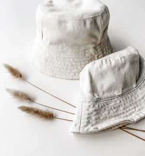 Reversible Cream Bucket Hat. Bamboo and Organic cotton