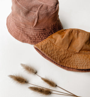 Reversible Tan Bucket Hat. Bamboo and Organic cotton