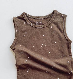 Stargazer Onesie in canteen with stars and moons