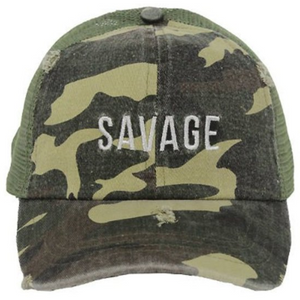Vintage Savage Camo Washed Denim Cap - Camo Savage