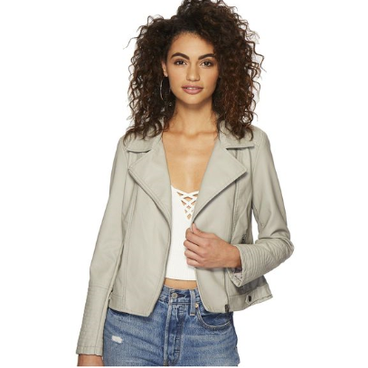 Laren Vegan Leather Jacket - Grey