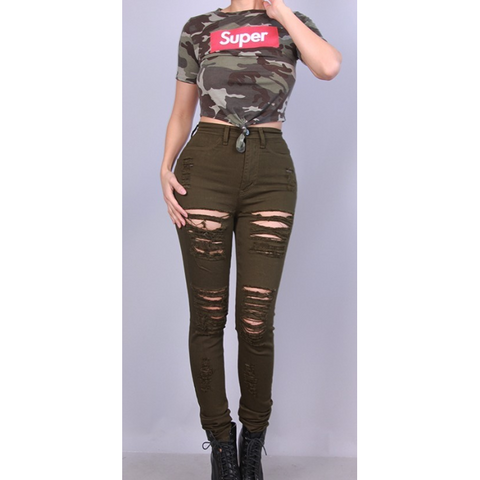Super Crop Top - Light Camo