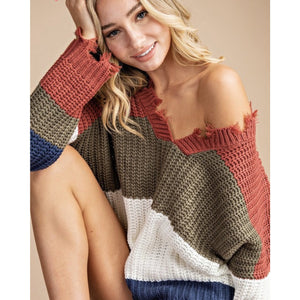 In living color - distressed color block sweater