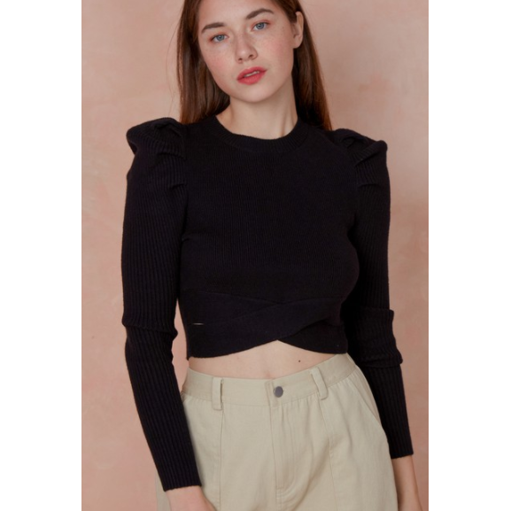 Sweater Folded Detail Crop Top