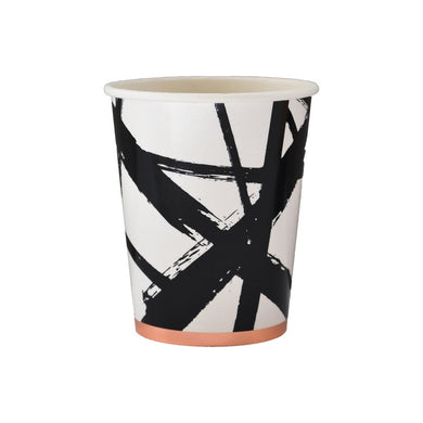 Black and White Brush Strokes Paper Cups