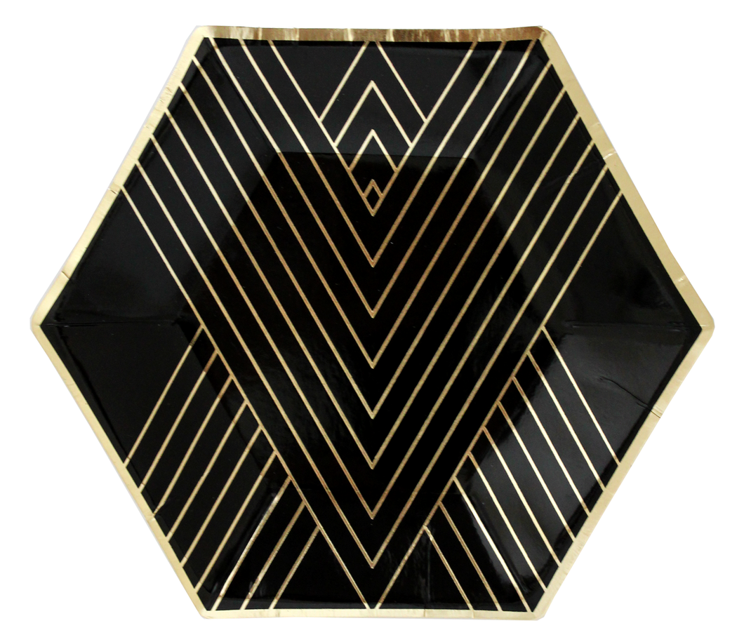 Black and Gold Hexagon Plates