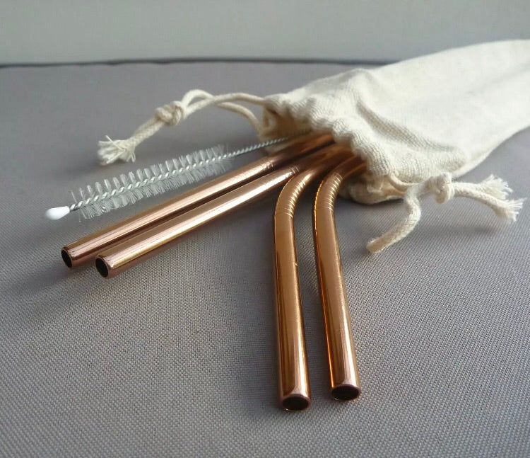 ROSE GOLD STAINLESS STRAW - 4 PIECE SET