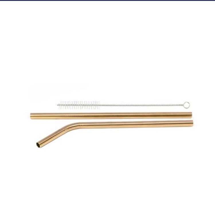 GOLD STAINLESS STEEL STRAWS - 2 PIECE SET