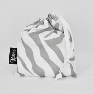 PRODUCE BAG COMBO with pouch - The Zebra - grey & white