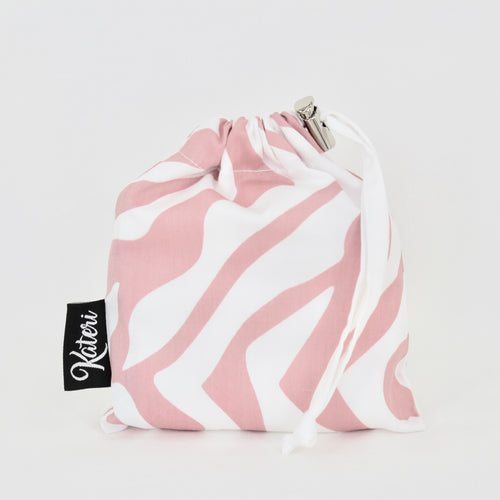 PRODUCE BAG COMBO with pouch - The Zebra - pink & white