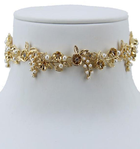 Marie Antoinette Golden Pearl Choker - iNowacollections