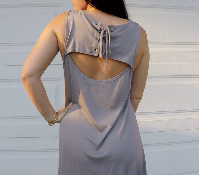 Silver Cut Out Back Sleeveless Dress