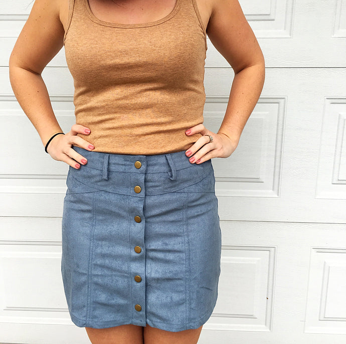 Dusty Blue Suede Skirt