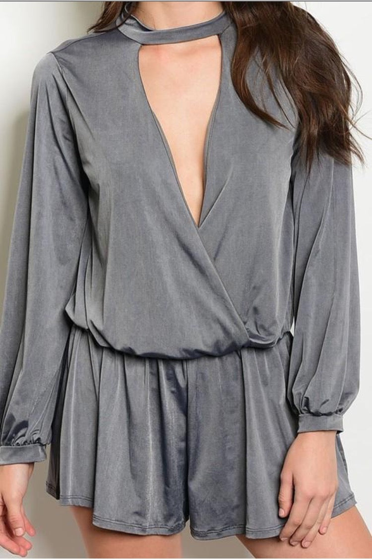 Satin Gray Romper