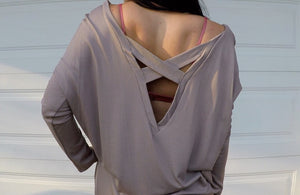 "Mocha ""X"" Back Long Sleeve Top"