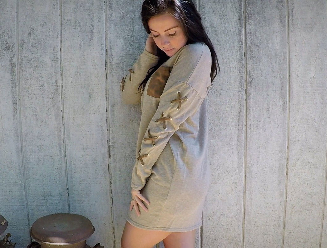 Suede Pocket Lace Up Shift Dress