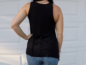 Black Lace Up Sleeveless Top