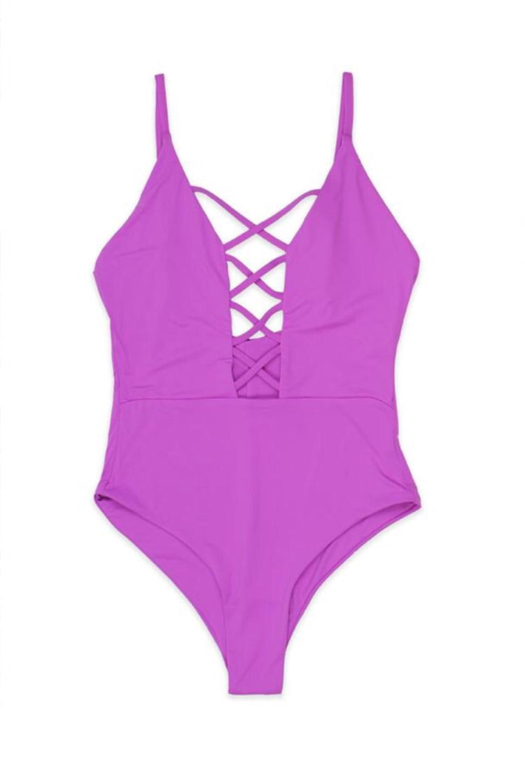 Purple Haze Criss Cross One Piece