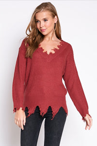 Marsala Distressed Sweater