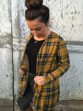 Plaid Print Waterfall Cardigan