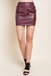 Don't Wine About It Leather Skirt