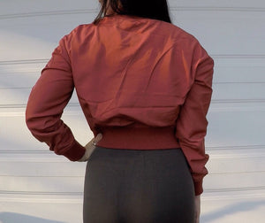 Cinnamon Fitted Bomber Jacket