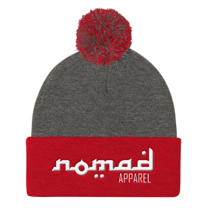 NOMAD White Signature (3 DOT) Pom Pom Knit Cap