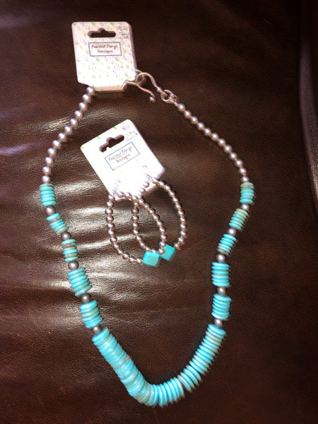 Turquoise Graduated Disc Necklace