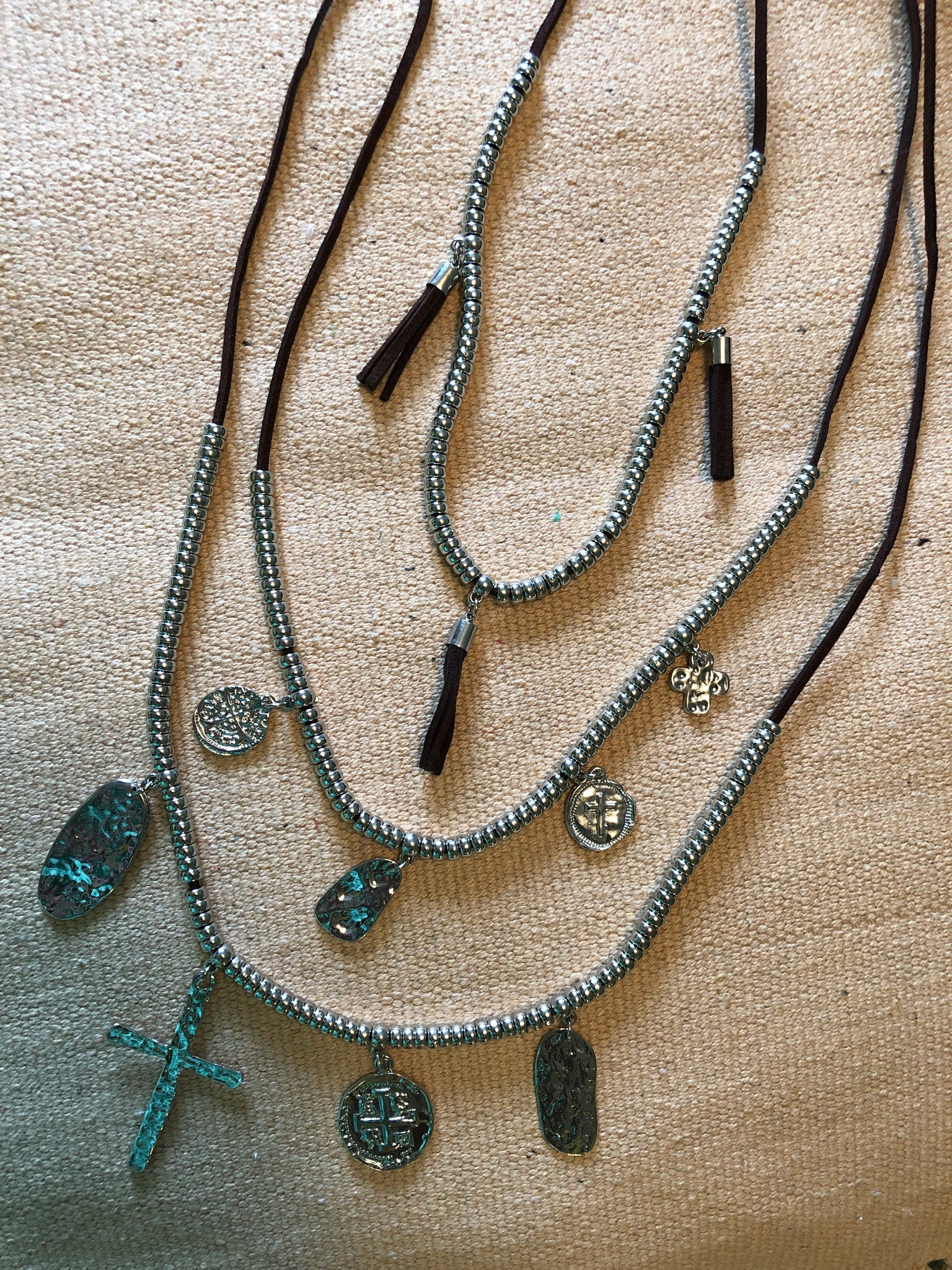 Leather & Silver Layered Necklace