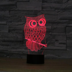 Owl 3D Night Light 3 Colors Change LED Desk or Table Lamp