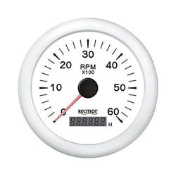 TACHOMETER 6000 RPM & DIGITAL HOUR METER UNIVERSAL OUTBOARD GAUGE  WHITE FACE