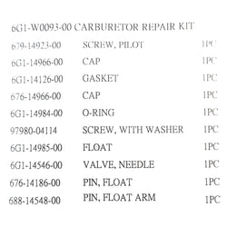 Carburettor kit for Yamaha 3A, 6C, 8C, 6G1-W0093-00