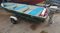 Quicksilver 4.10m 14ft aluminium boat Indespension trailer Honda 5hp outboard