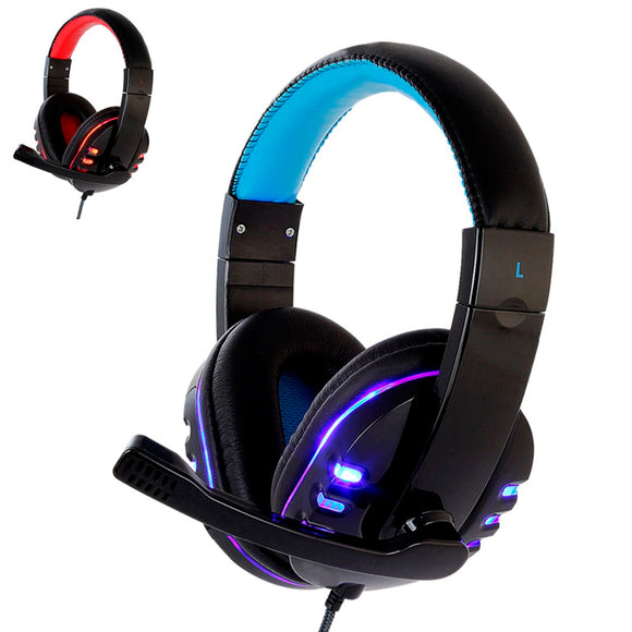Computer Gaming Headset PS4 with Mic LED Light for PC Gamers