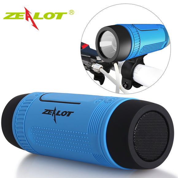Zealot S1 Outdoor Bicycle Bluetooth Speaker  (Power Bank+LED light +Bike Mount+Carabiner)
