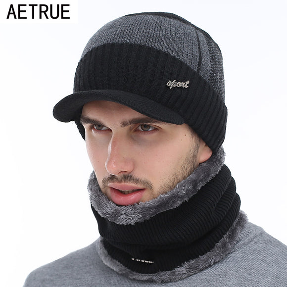 Men's Winter Beanie Hat with Wool scarf