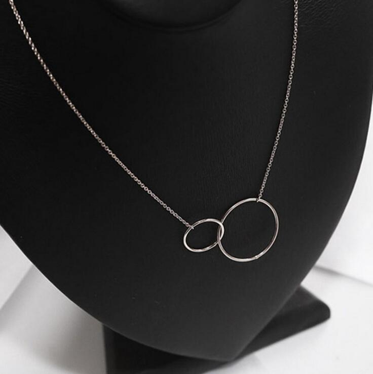Double Circle Interlock Necklace 925 Sterling Silver