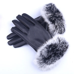 Faux fur,  ladies leather look gloves