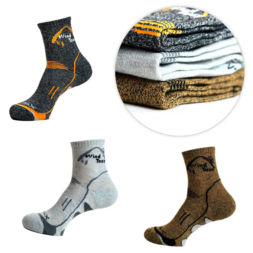 Thermal mid height hiking or outdoor socks
