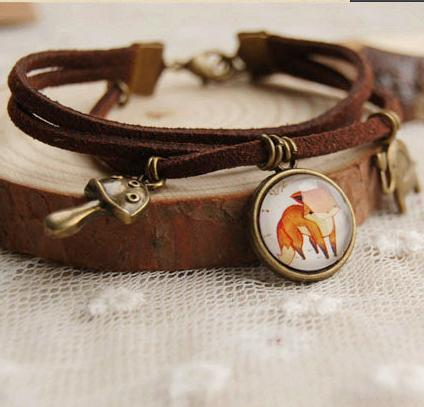 Wrap bracelet with Fox charm