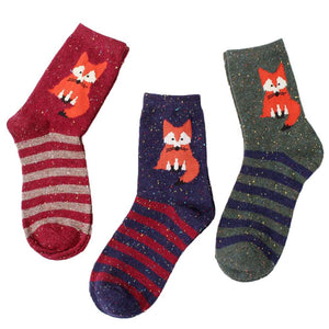 1Pair Fox patterned Striped Socks