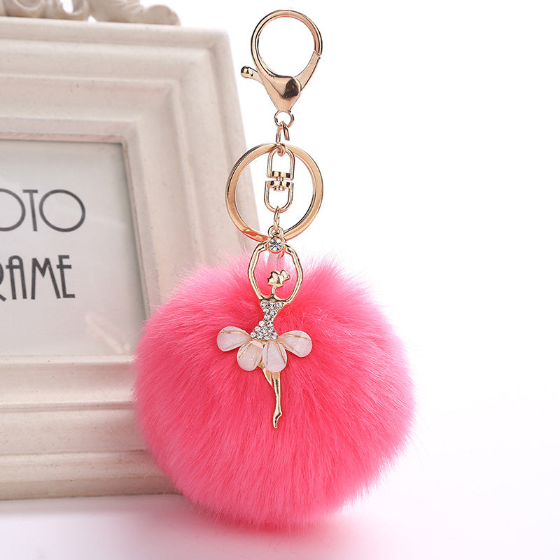 Crystal ballerina with Fluffy Puff bag tag or key ring